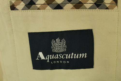 """AQUASCUTUM DESIGNER LIGHT BEIGE FITTED 38"""" COTTON SUMMER JACKET * DRY CLEANED*"""
