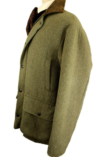 """BEAVER OF BOLTON GREEN LARGE 46- 48"""" SHOOTING GREEN TWEED COUNTRY FIELDCOAT"""