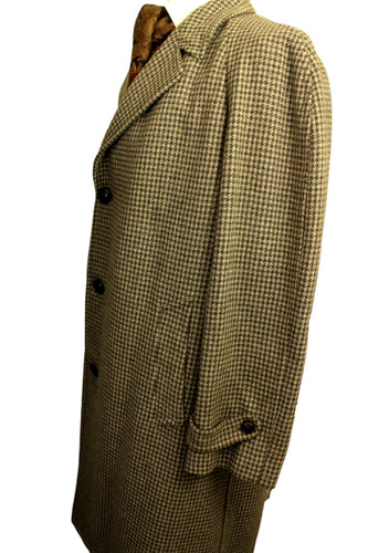 """VINTAGE BURTON 42"""" HOUNDSTOOTH  FAWN BROWN THICK TWEED OVERCOAT"""