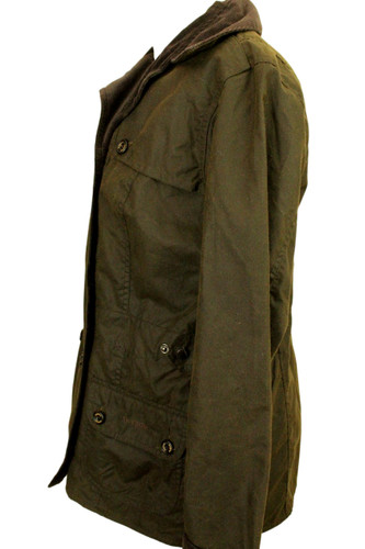 BARBOUR L2013 DOUBLE BREASTED SIZE 14 OLIVE WAX LADIES JACKET