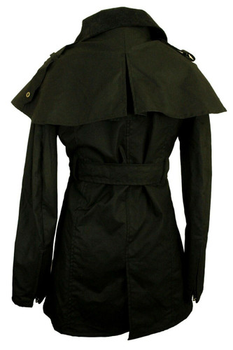 OXFORD BLUE BLACK LADIES XSMALL SIZE 8 DOUBLE BREASTED BELTED WAX JACKET