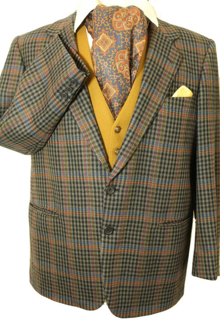 "ITALIAN TWEED 44"" SHORT MENS MULTICOLOURED CHEQ TWEED JACKET"