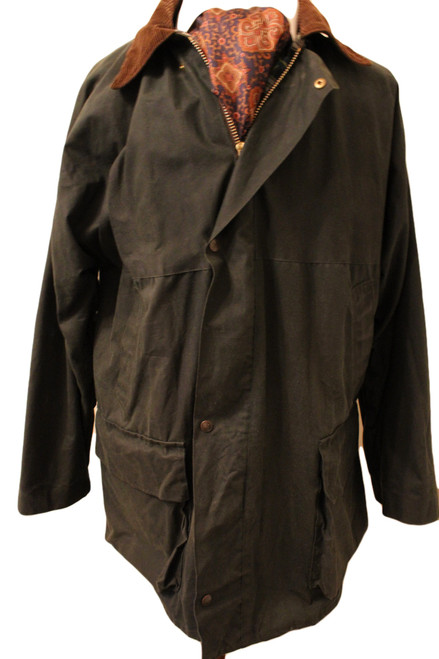 "JACK MURPHY 44"" GREEN WAX WATERPROOF JACKET"