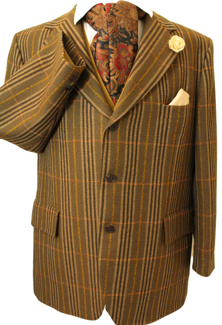 "VINTAGE MAGEE 46"" TAILORED MENS TWEED CIRC 1970'S ERA JACKET"