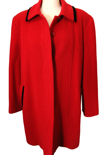 VINTAGE LADIES SIZE 14 RED WOOL & CASHMERE COAT