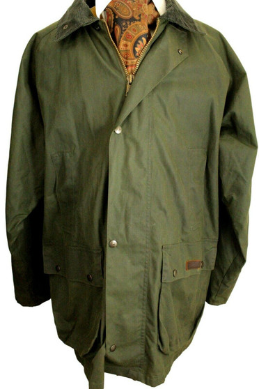 PG FIELD OLIVE GREEN XLARGE COTTON INSULATED WATERPROOF WAX JACKET