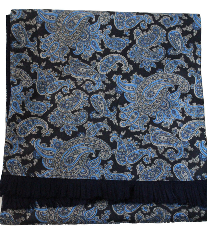 VINTAGE TOOTAL BLUE PAISLEY REVERSABLE WOOL BACKED SCARF