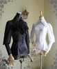 Silence Lonely, Elegant Gothic Large Peak Collar Long Cuffs Blouse & Jabot*3colors Lady Version Instant Shipping