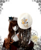 Left: Grey + Bunny Alice Embroidery Right: Cream + Queen Alice Embroidery (cat brooch: P00584)