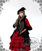 Model Show (hat: P00574, cape: CT00179, dress: DR00174, fan: P00580, skirt: SP00166, birdcage petticoat: UN00019L)