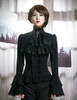 Gothic Ruffle Neck Long Sleeve Shirt Blouse Jabot Zircon Set Retro Pirate Fashion White Black
