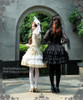 Model Show (hair dress: P00607, corset: Y00025N, ivory pannier bloomers: UN00024, black skirt: SP00138, black leggings: P00182, white leggings: P00187)