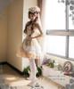 Model Show (Ivory + Gold Ivory Mixed Lace Ver.) (hat: P00533, corset: Y00025N, fan: P00580, pannier bloomers: UN00024, birdcage petticoat: UN00003N, leggings: P00187)