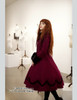 New Romantic, Classic Lolita Petal Collar Long Wool Coat & Fur Set*2colors
