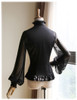 100% Mulberry Silk Shirt Long Sleeve Shirt Blouse Choker Jabot Set Black Grey