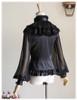 100% Mulberry Silk Shirt Long Sleeve Shirt Blouse Choker Jabot Set Black Grey