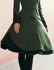 Last Chance: Steampunk A Line Skirt Midi Skirt Fur Trim Uniform Skirt Khaki Green