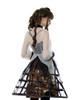 Steampunk Crinoline Petticoat Long Cage Skirt Hoop Skirt Black White