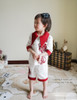 Model View (White+ burgundy flockings) blouse F00003N