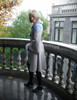 Vintage Silk Dress Midi Dress Retro Fashion One Piece & Choker *Black Grey