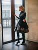 Gothic Steampunk Retro Steel Boned Corset Dress Jacket*Black Leather/Suede