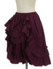 Side View when Skirt Layer front buttoned-up (Burgundy Version)
