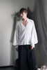 Vintage Blouse Gothic Retro Steampunk Casual Long Shirt for Men Oversize Black/White