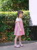 Cute Lolita Kids Silk White Midi Dress Pink Summer Dress