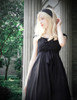 Gothic Retro Black Dress Summer Maxi Dress Draped Chiffon Evening Dress with Headband