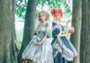 Model Show LEFT (Pale Mint Ver.) (dress: DR00249, petticoat: UN00026) RIGHT (Greyish Black Ver.) (dress: DR00249, blouse underneath: TP00177, petticoat: UN00026, gloves: P00581)