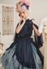 Model Show (Dark Blue + Grey Ver. worn as a skirt) (hair bows: P00679 & P00679N, blouse: TP00183, skirt piece outside: SP00210, birdcage petticoat underneath: UN00019)