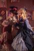 Model Show (Black + Dark Blue Ver. with Optional Jabot P00689) (ruffle cuffs: P00688, underskirt: UN00030, petticoat: UN00028) Girl on LEFT wearing (hat: P00690, blouse: TP00185, skirt: SP00213 with optional underskirt P00664N)