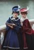 Model Show (Burgundy + Antique Pink Stripes & Dark Blue + Shadow Blue Stripes Ver.) (short cape: CT00320, black long cape: CT00321, blouse underneath: TP00186, skirt: SP00215, underskirt: UN00030)