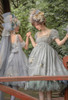 Model Show (Pale Mint Ver. with optional bustle piece P00709) (underskirt: UN00030N) Girl on Left wearing (JSK: DR00278 with optional big bow P00704, veil: P00703, cape: TP00192, overskirt: SP00219, underskirt: UN00030N)