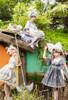 Model Show (Milky White & Iron Grey Ver.) LEFT (headdress: P00711, skorts: UN00034, petticoat: UN00026) RIGHT (skorts: UN00034, petticoat: UN00026) Girl in the MIDDLE (headdress: P00711, dress: DR00280, apron: DR00281, petticoat: CT00040S)
