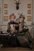 Model Show (Antique Green Ver.) (headdress: P00715, dress: DR00286, petticoat: UN00026, bustle pillow: P00714) Girl on Left wearing (headdress: P00715S, corset dress: DR00289, blouse: S01008, underskirt: UN00030N)