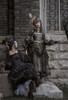 Model Show (Antique Blue Ver.) (headdress: P00715, black dress: DR00288, underskirt: UN00030) Girl on Right wearing (headdress: P00715, dress: DR00288, corset: Y00047, petticoat: UN00026, bustle pillow: P00714)