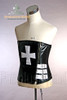 Elegant Gothic Over Bust Steel Boned PU Leather Cross Corset
