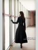 Elegant Gothic Aristocrat Wide Skirt Bottom Slim Waist Long Thick Wool Coat