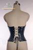 Elegant Gothic Aristocrat Steel Boned Buckles PU Leather Peaked Bottom Long Corset