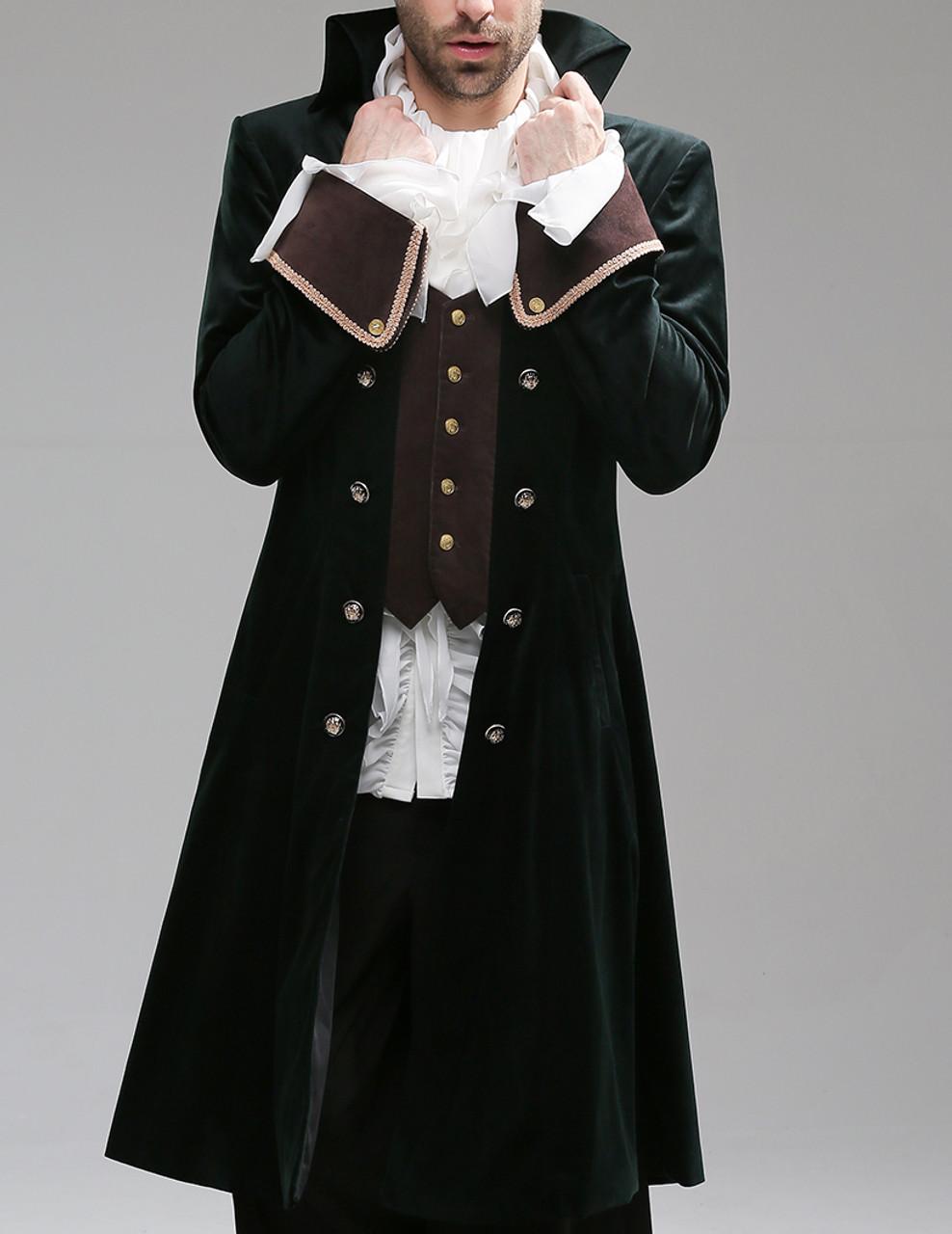 5ec2ad8a62 Whale Bones Bay, Pirate Gothic Steampunk Victorian Fine Velvet Captain  Cocktail Long Coat*2colors Man M Instant Shipping