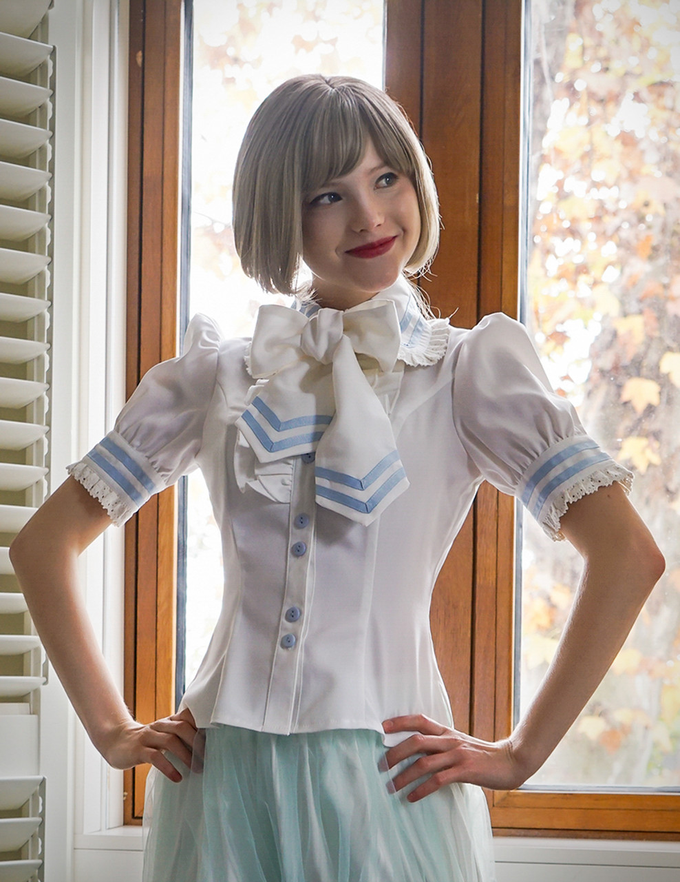 4fbff0e1ec9d Lolita Short Sleeves Shirt Summer Blouse Neck Tie Set White Black