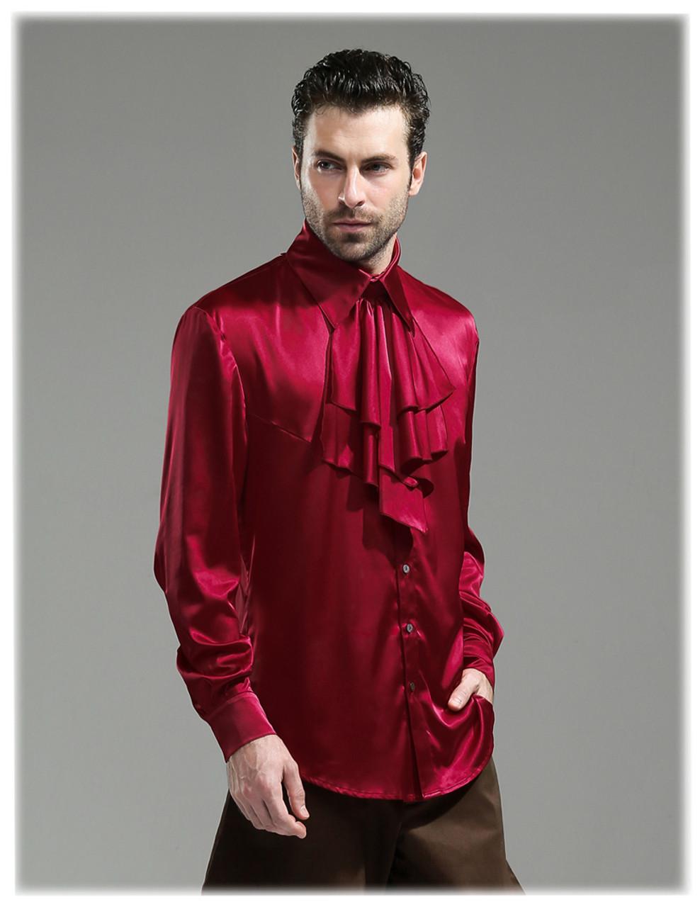 28bb27cb5f7bb7 Steampunk 100% Mulberry Silk Dress Shirt Cravat Set Black Grey Burgundy