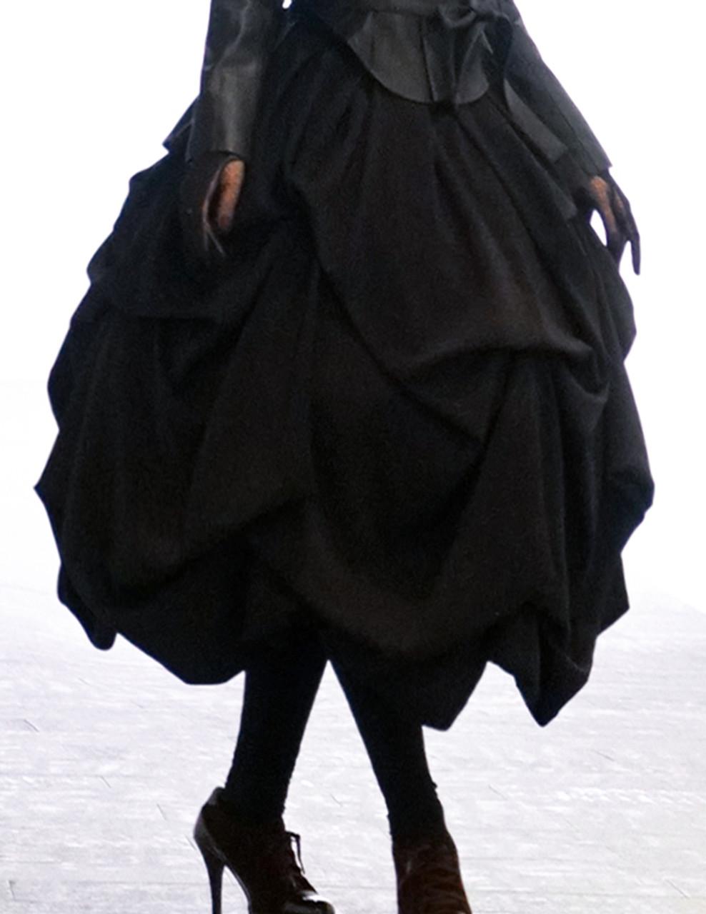 6152d852110b Silence Lonely, Gothic Lolita Retro Heavy Drop Pleat Corset High Waist Long  Skirt