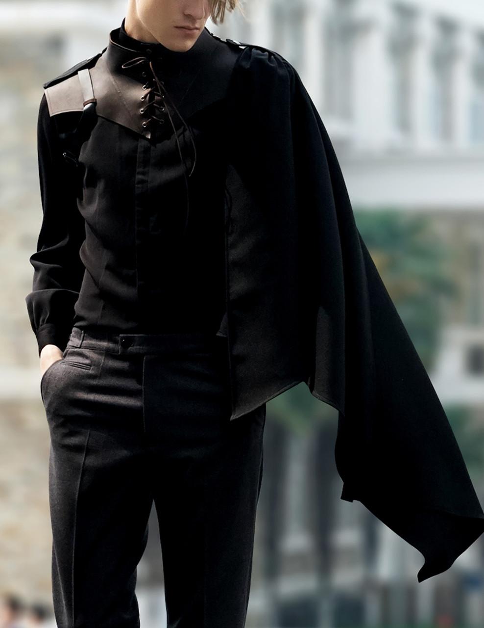 b21696b91966b Vintage Hooded Mantle Men s Black Mantle One Shoulder Retro Punk Pirate  Fashion