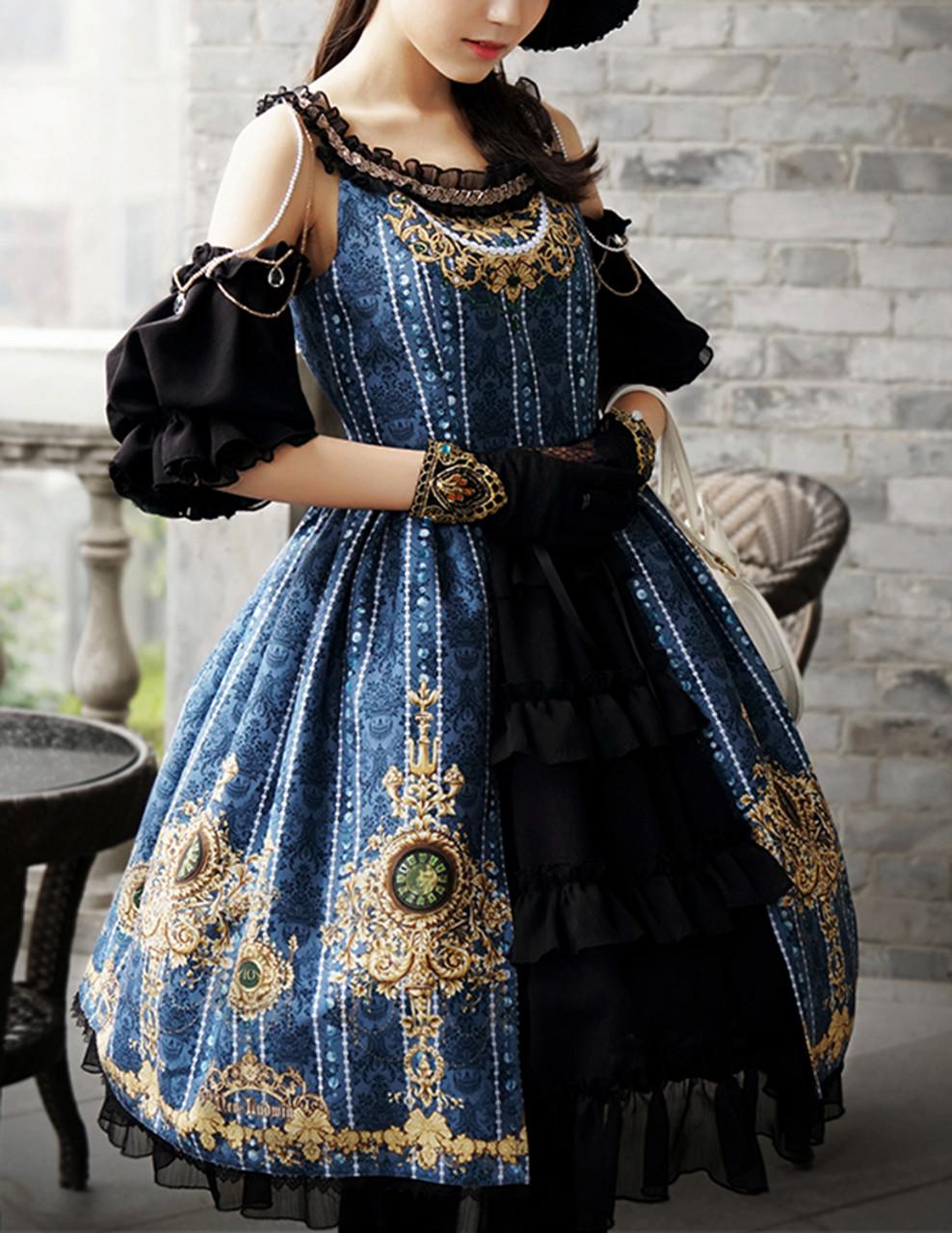Last Chance  Lolita Fashion Ball Dress Chic Rococo Off the Shoulder Gold  Print Dress  burgundy d77e58a24b8c