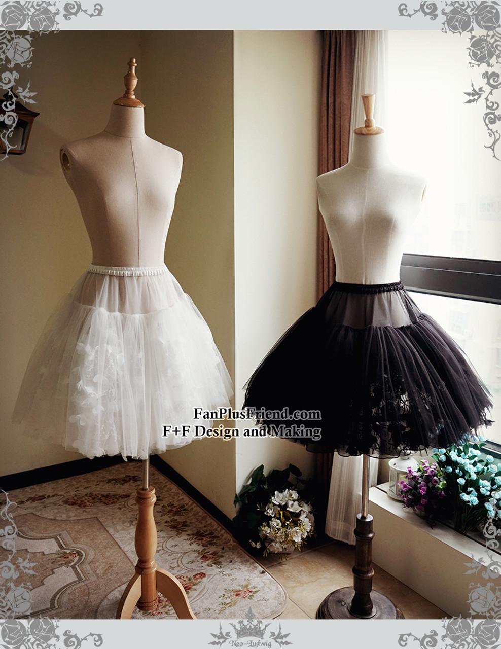 c5ed330211 Lolita Tulle Skirt Midi Skirt A Line Steel Boned Petticoat Underskirt White  Black
