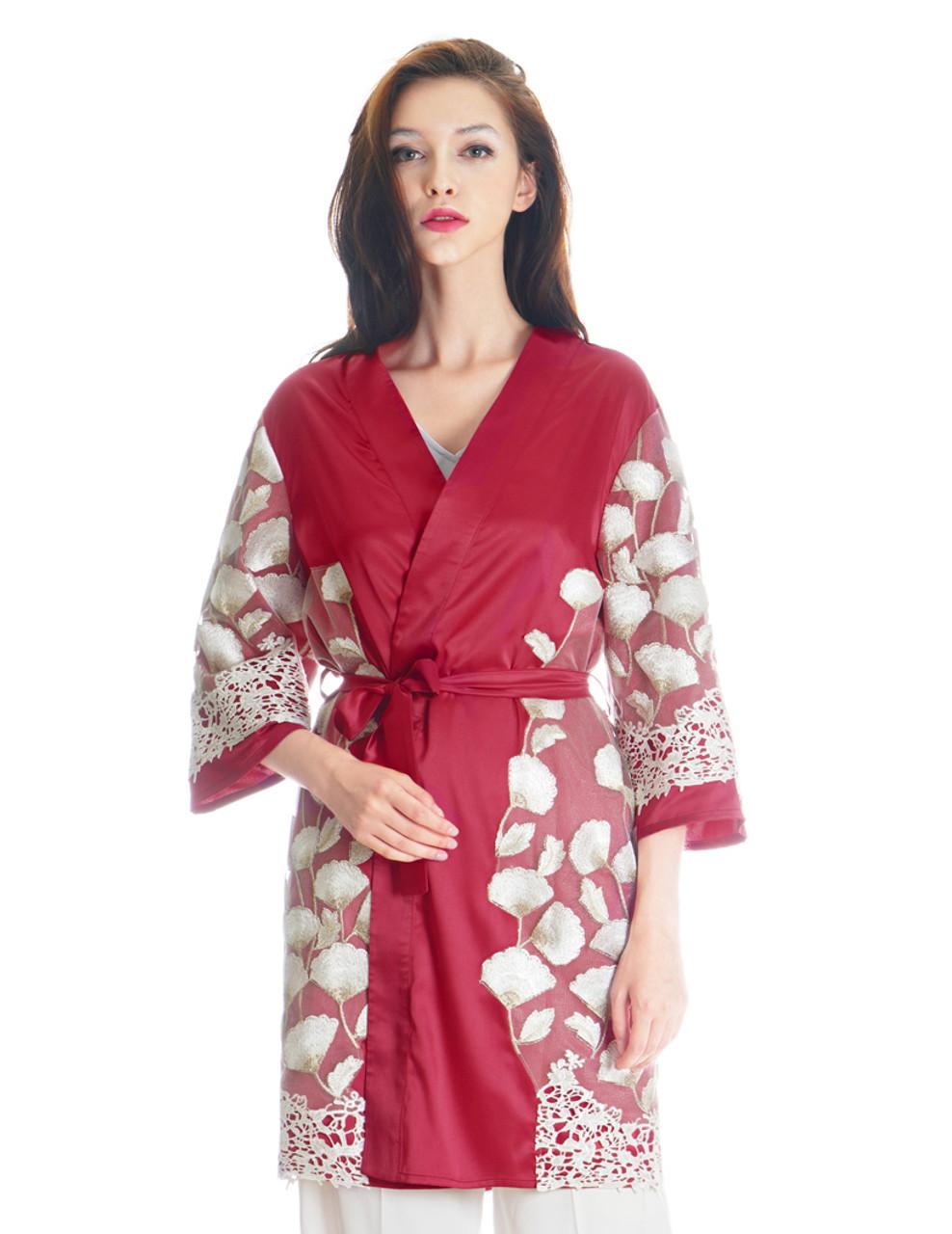 928315cec6 Lolita Silk Robe Floral Dress Kimono Robe Embroidery Design  Pink ...
