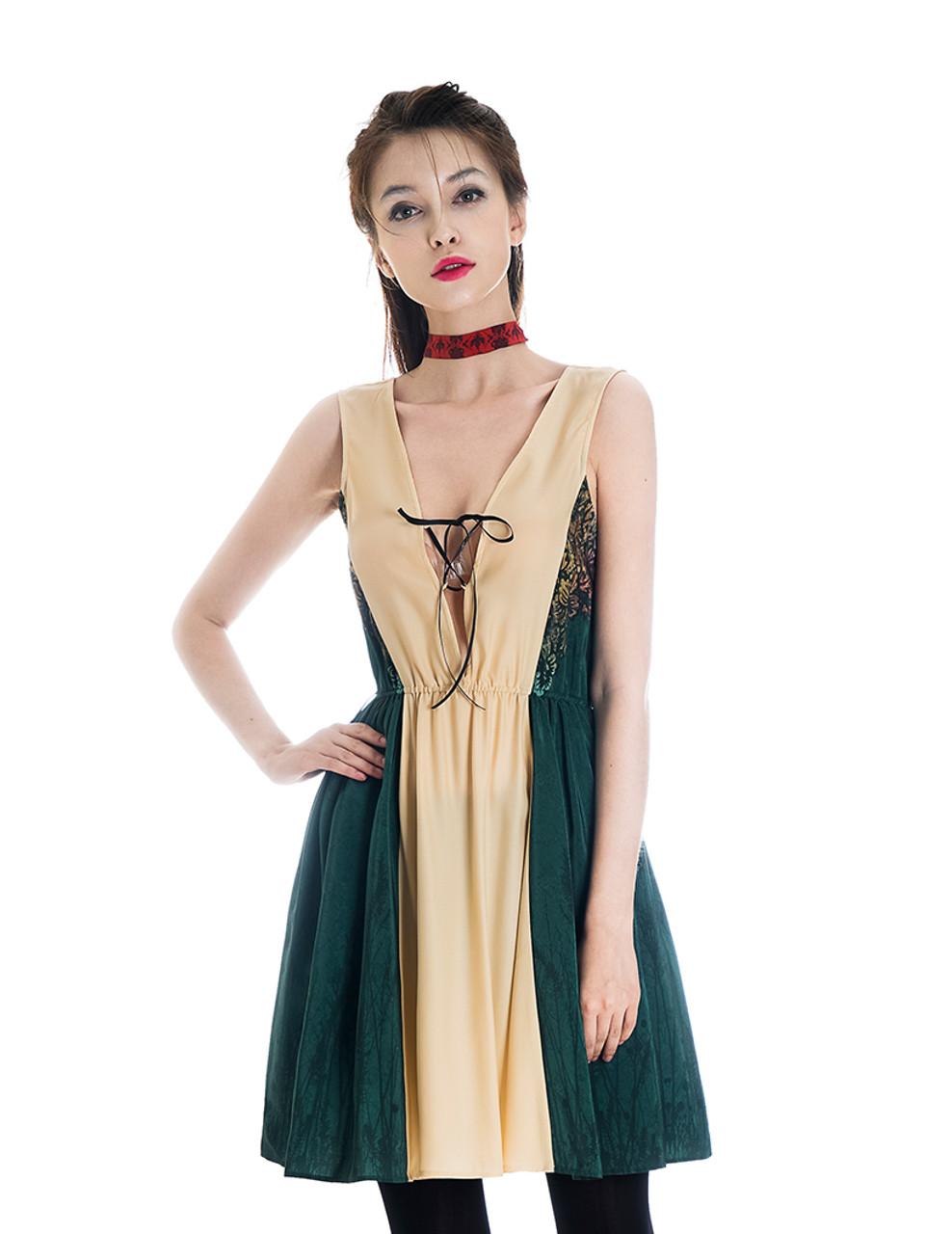Dark Green Floral Dress