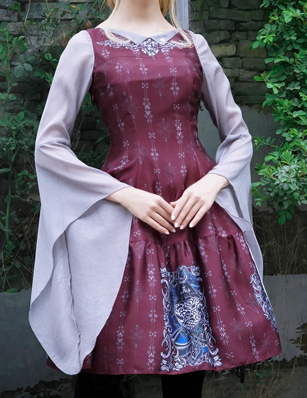 53c28ee995 Gothic Fashion Printed Midi Dress Medieval Retro Fairy Ethereal Long ...